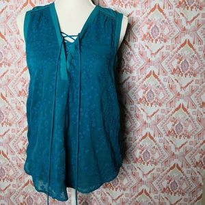Maeve XS 2 Tank Blouse Lace-up Teal Embroidery